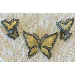 Gorgeous Set Of Vintage Enamel Jewelry Butterflies
